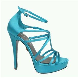 Adrienne Maloof Ysabel Aqua Satin strappy heels